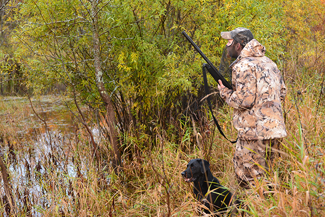Duck hunter and lab