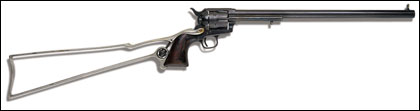 The single-action .45 Colt revolvers and their detachable stocks were real.
