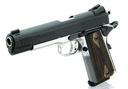 It has black control levers, low-profile Siglite night sights and Hogue Black Diamondwood checkered grips.