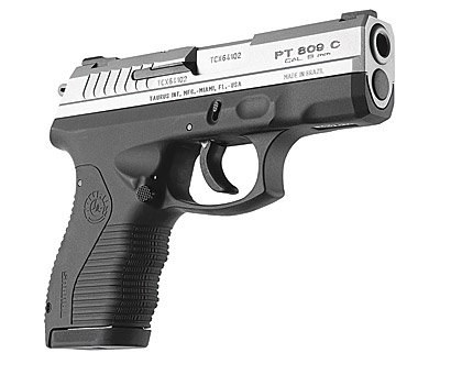 The compact 9mm version of the 800 series sports a 31⁄2-inch barrel and a shortened grip frame, along with ambidextrous mag release and contoured thumb rest.