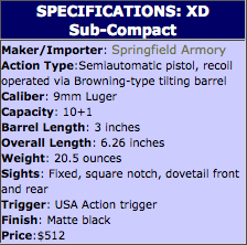 Springfield Armory XD Su-Compact Specifications