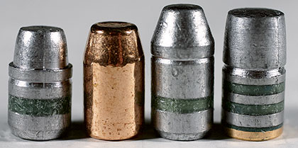 Some great .44 Mag bullets, left to right: the 240-grain Oregon Trail, Berry 285, Oregon Trail 300 Truncated Cone and 310 True Shot.