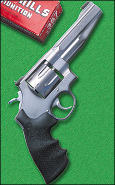 "It is gratifying to see the return of a close relative of the original .357 Magnum revolver--the Model 627-5 ""Eight Times."" This new N-frame is built by the Smith & Wesson Performance Center and offered by all its distributors."