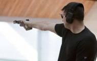 Keith Sanderson shoots rapid-fire pistol