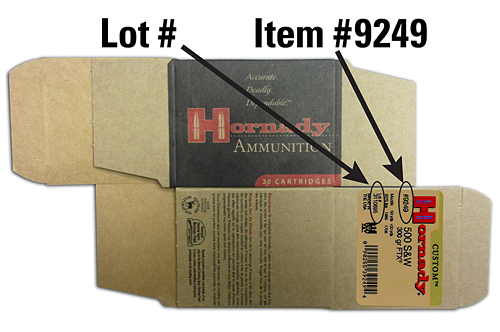 Hornady is recalling seven lots of 300-grain FTX Custom .500 S&W ammo (item number 9249).