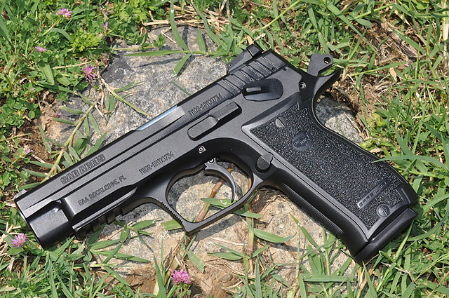 The K2 is a CZ-75 styled pistol scaled up for the .45 ACP cartridge.  Designed to take Para magazines, it holds 14+1 rounds, can be carried cocked and locked, and is available now through EAA with an MSRP of $592