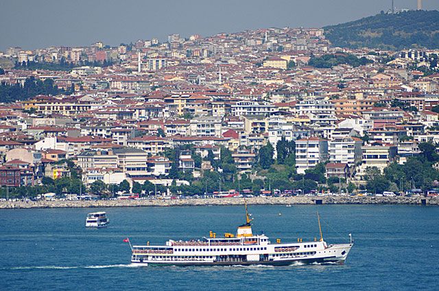 The view across the Bosphorus strait, which connects the Black Sea with the Sea of Marmar and cuts Istanbul in half.  As it is the official boundary between continents, that means that half of Istanbul is in Europe and half in Asia.