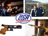 pistol shooting photos and team logo