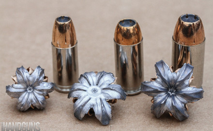 Federal Premium HST 9mm, .40 S&W and .45 ACP loads pictured with fully expanded bullets.