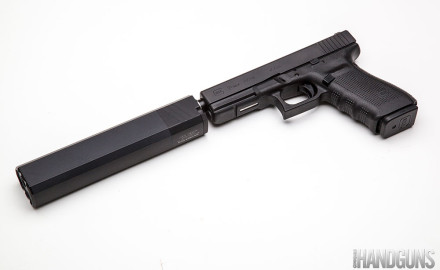 While centerfire handgun rounds are only rendered whisper-quiet by silencers in Hollywood movies,