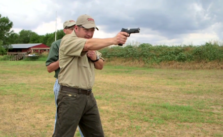 Richard Nance and James Tarr hold a friendly competition of long distance handgun shooting
