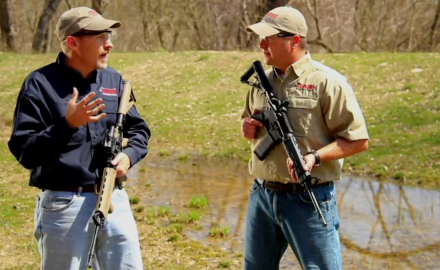 Richard Nance and James Tarr face off in a shootout with iron sights v. optics.