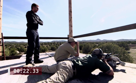 Richard Nance, James Tarr and Chris Trapp battle the undead from a sniper tower in this competition