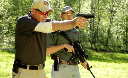 Dave Spaulding demonstrates how the controls of the AR-15 are not so dissimilar from most pistols.