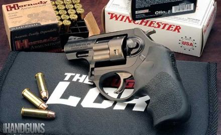 The Ruger LCRx is a polymer-framed .38 special revolver with Hogue grips and is built for compact carry. Read our review here.