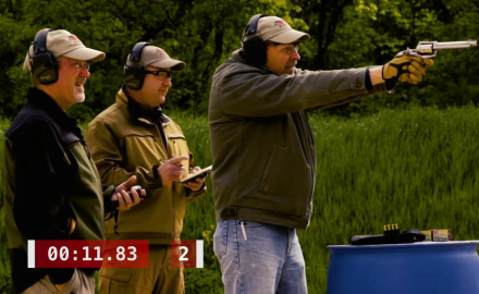 Richard Nance, James Tarr and J. Scott Rupp battle it out on a moving target with a .454 Casull