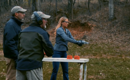 Richard Nance, Jessica Nyberg and J. Scott Rupp square off against one another shooting clay