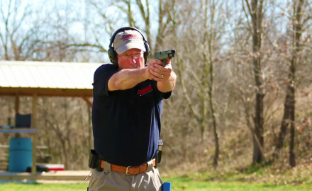 J. Scott Rupp demonstrates the Bill Drill, which teaches sight tracking, recoil management and trigger press.