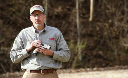 James Tarr highlights the features of the Hi Point .45 pistol.