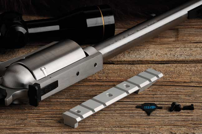 Magnum Research provides a Weaver scope rail with each BFR, along with a tool to aid in installing it. The rail has a shoulder machined in to help it withstand the gun's hefty recoil.