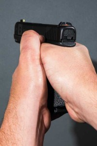 The thumbs-down grip tends to create a gap at the back of the grip, allowing the gun to shift during recoil.