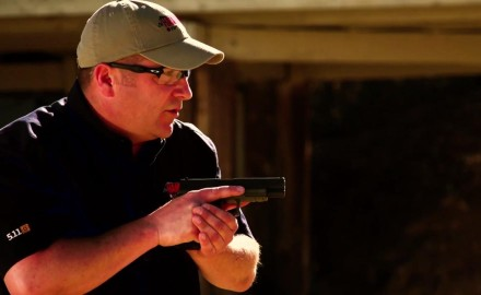 Richard Nance demonstrates the proper way to conduct a tactical reload.