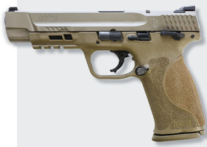 The flat dark earth version has a five-inch barrel and features the ambi thumb safety, which Sweeney finds provides more control.