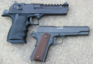The pistol is slightly longer and 10 ounces heavier than a five-inch 1911, and its powerful chamberings make it a great hunting gun for those so inclined.
