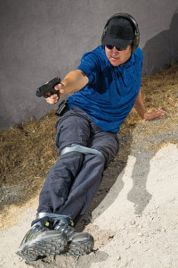 If you're shot in the legs, escaping to cover won't be a picnic. Simulate this injury by having someone duct-tape your legs and then engaging a target while moving yourself out of harm's way.