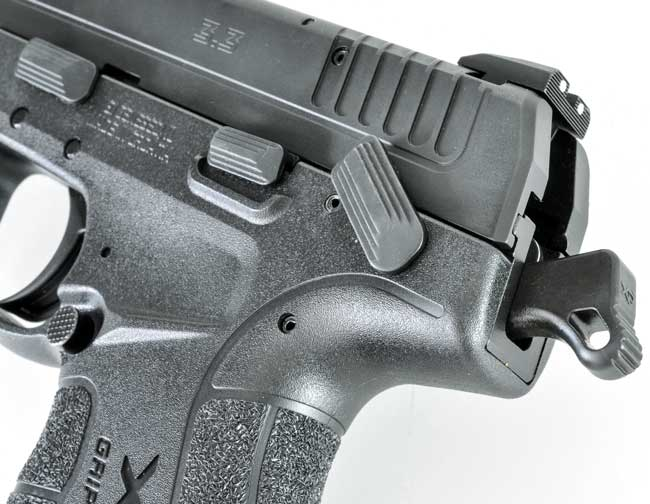 The XD-E can be carried cocked and locked. While the safety is also a decocker, the decocker is small enough that you're not likely to accidentally decock the pistol when disengaging the safety.