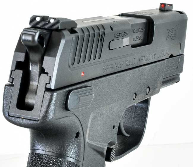 The XD-E sports sights that are now standard for the XD line, with a red fiber-optic insert in the front sight and white dots on either side of the rear notch.