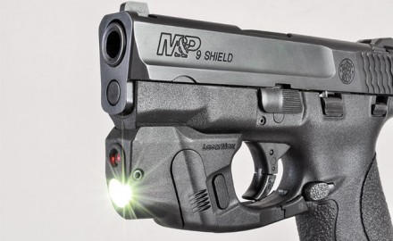 The CenterFire is a new combination light/laser unit for compact handguns from LaserMax, with new GripSense activation technology, first available on this model.