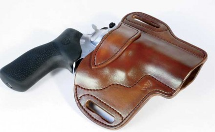 Ruger's GP 100 .44 Special is right at home in the Predator Pancake from Wright Leather Works. A stiffening strap at the top ensures the holster stays open.