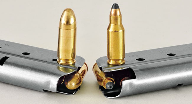 The 9mm (l.) and .22 TCM are close enough in diameter and length that they can both work in standard 9mm 1911 magazines.