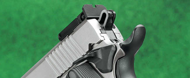 The rear sight is serrated, and the beavertail safety sports a memory bump for sure operation. This is the only gun in Ruger's standard 1911 lineup to incorporate G10 grips.