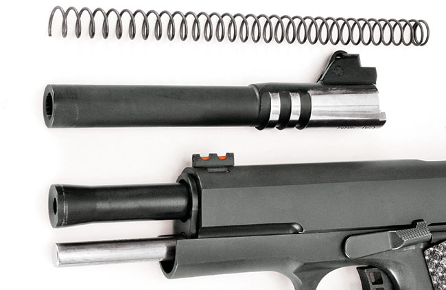 The combo option delivers 9mm and .22 TCM barrels and two recoil springs. The gun comes with the TCM barrel, which features a flared muzzle installed.