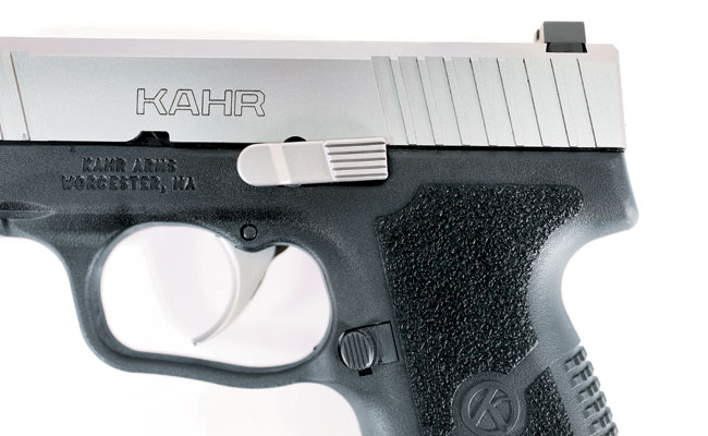 With its double-action pull, the Kahr has no need for a manual safety, so controls are composed of just a slide lock lever and a mag release.