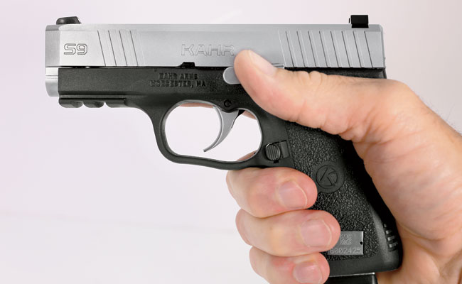 The Kahr is a small, light gun, but its dimensions allow a full three-finger grip, which makes shooting it relatively easy.