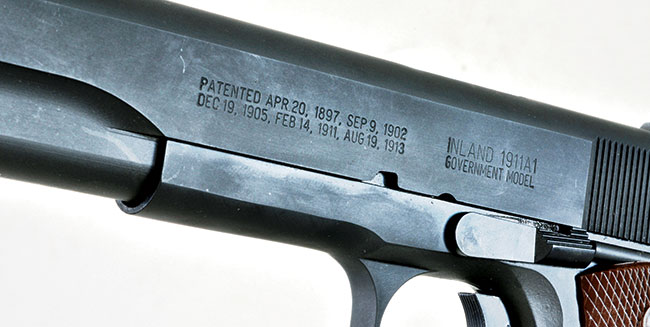 Original G.I. pistols were marked with the patent date, and true to its origins, the Inland gun features the same stamping.