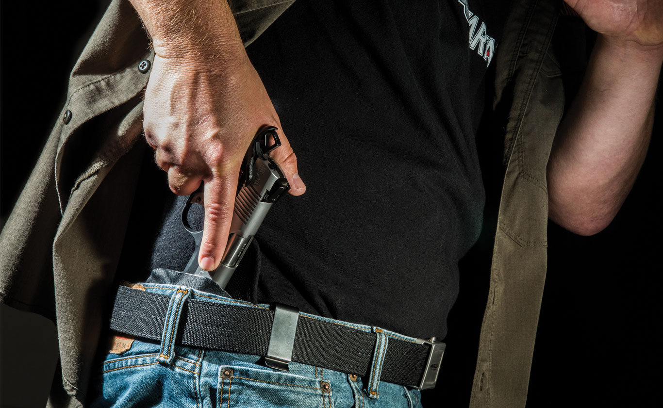 Getting your gun back into its holster is an important skill.