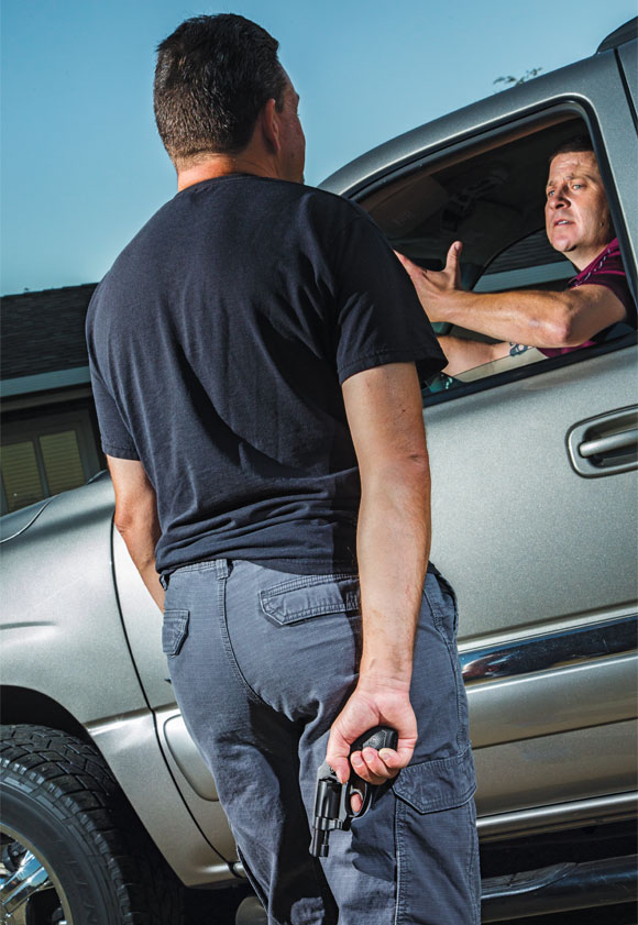 Awareness and common sense are your first defenses. Your windows should be up, and you should have left enough room to maneuver your vehicle and escape should you see someone hinky approaching.