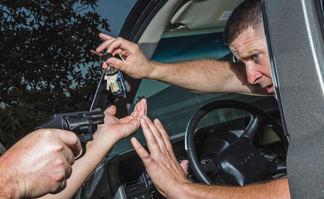 In some cases the best reaction to a carjacking is cooperation. No car is worth your life, so if it seems like the right move, give him the keys and get out of there.