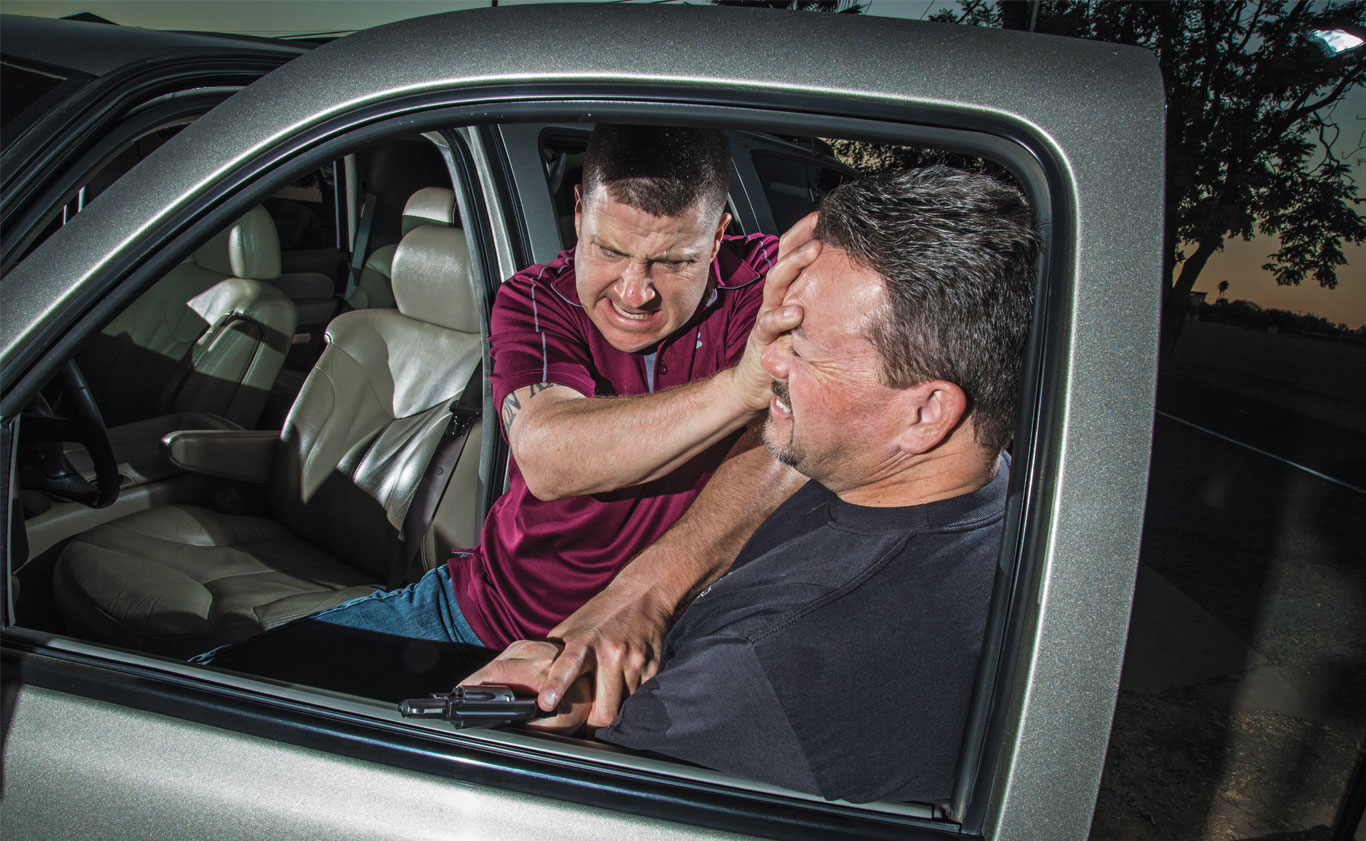 Depending on the circumstances, you may have to deal with a carjacker's weapon in order to use your own. It can be done, but it takes training and practice.