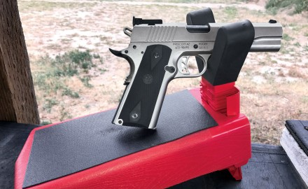 MTM Case-Gard's pistol rest ($20) is a molded-plastic platform with a broad, adjustable plastic fork covered in rubber.