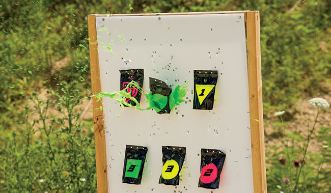 Consider double-stapling the packs so they stay on the target back board.