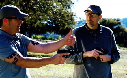 James Tarr and Richard Nance discuss grip techniques for managing handgun recoil.