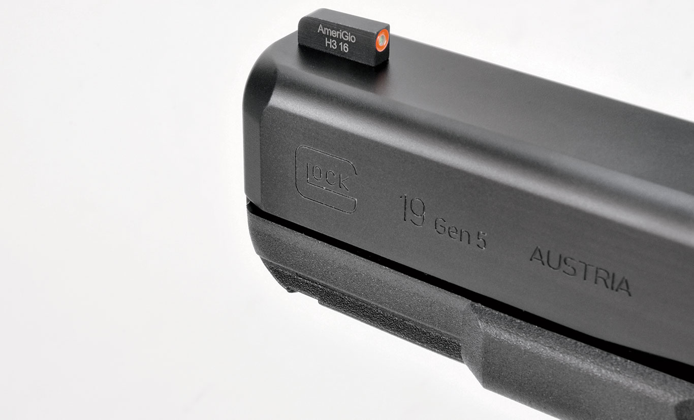 The Gen 5 is available with AmeriGlo's Bold day/night sights, with the front featuring a large orange dot around a tritium insert. Glock also increased the taper at the front for easier holstering.