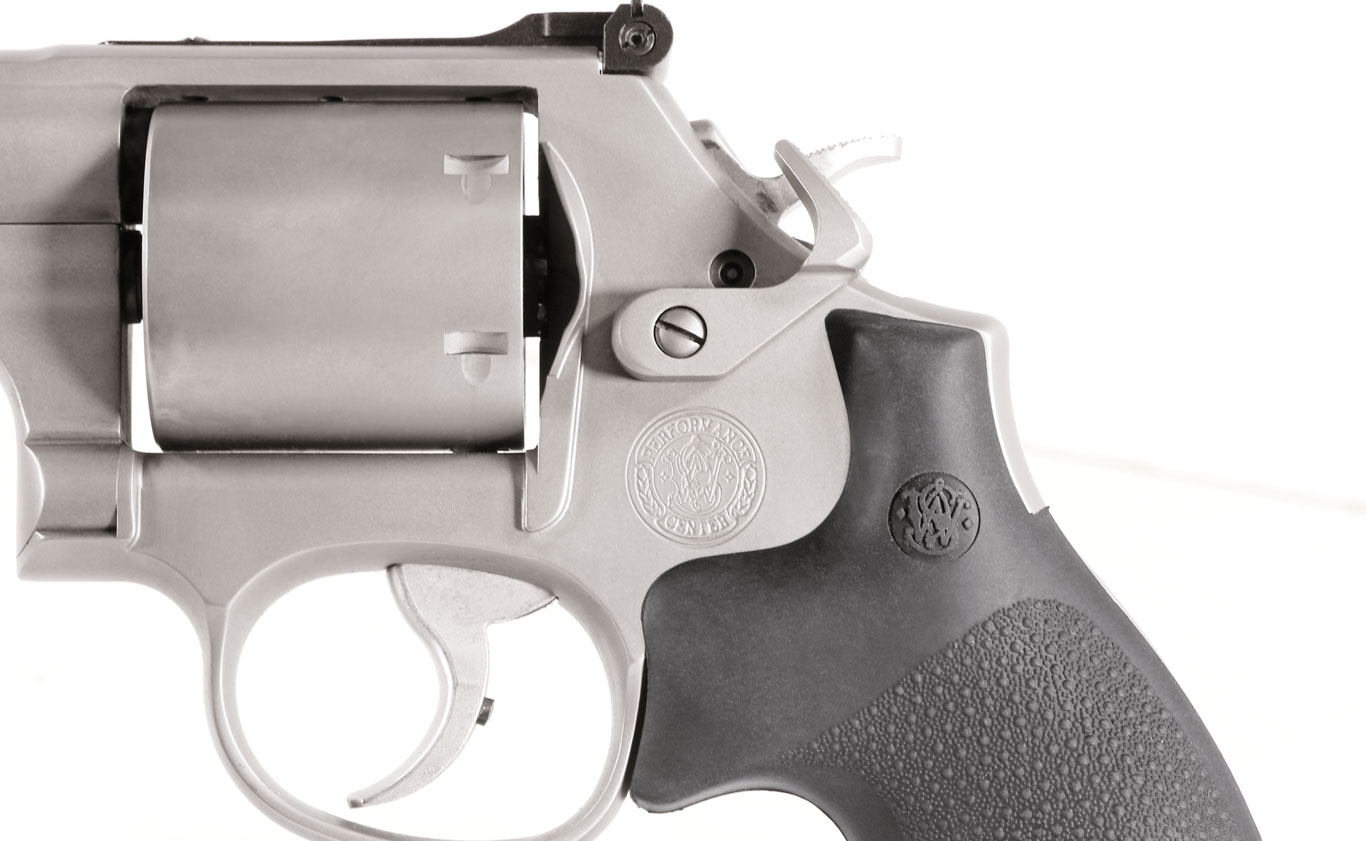 Unlike conventional revolvers, the Performance Center 686s have competition-style cylinder releases.