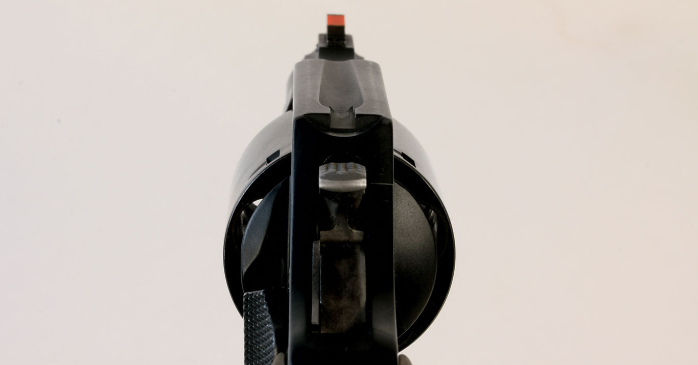 The 360 Airweight has basic sights: The rear is a notch in the topstrap and the front, which is pinned in, is a serrated red-ramp front.