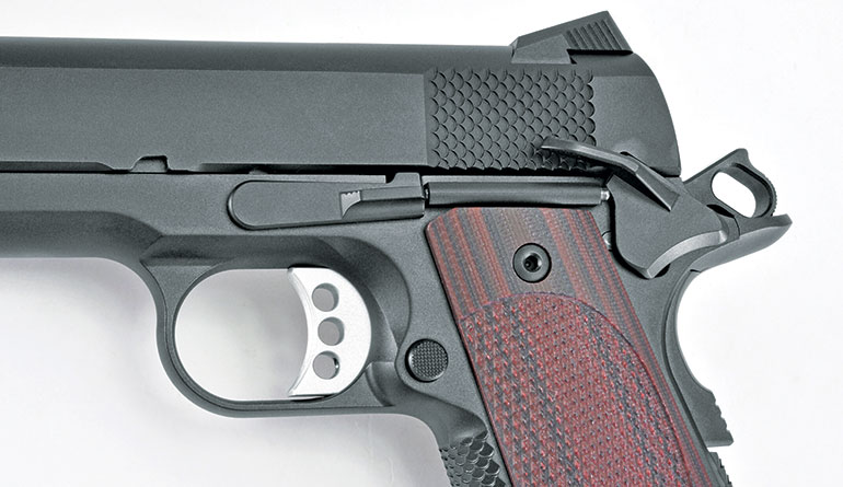 The CCO LW features Ed Brown's concealed-carry grip safety, an abbreviated design that shortens the safety's length by about an eighth-inch and helps keep the gun from printing.